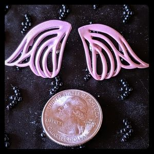 Vintage 1980's Angel Wing Statement Stud Earrings
